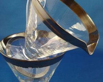 Faceted Glass and Silver Cream and Sugar