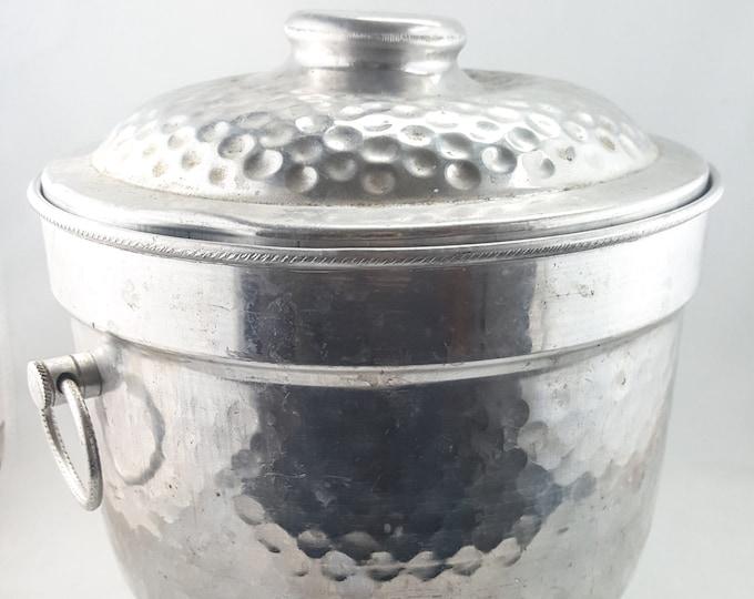 Mid Century Hammered Aluminum Ice Bucket
