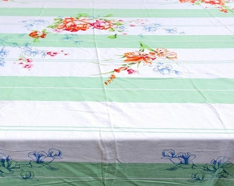 1950's Country Kitchen Rectangular Cotton Tablecloth with Floral Motif in Pink, Blue and Orange on Green Banded  background