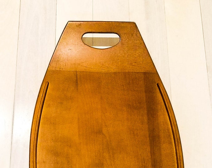 Mid Century Vintage Baribocraft Maple Wood Surfboard Serving Tray, Cheese Tray, Platter Made in Canada