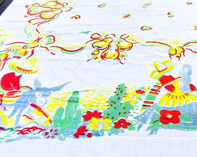 1950's Mexican Themed Cotton Tablecloth with Red Blue and Green and Yellow Motif