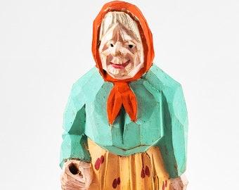 Vintage Audet carved folk figures -Canadian Traditional Quebec Hand Carved wood Folk art , Painted Old Woman