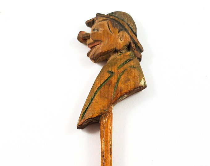 Vintage carved folk Art Spoon with Face -Canadian Traditional Quebec Hand Carved wood Salt Spoon, Tiny Spoon with Male Head and Shoulders