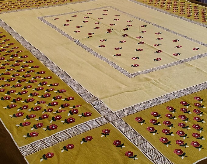 """1950's Country Kitchen Cotton Tablecloth In Mustard Yellow with Brown Border and festooned with Pink Flowers Motif, 48""""x 57"""""""