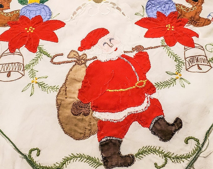 """Gorgeous Festive 1950's Cotton Embroidered and Appliqued Christmas Tablecloth 61""""L x 96"""""""