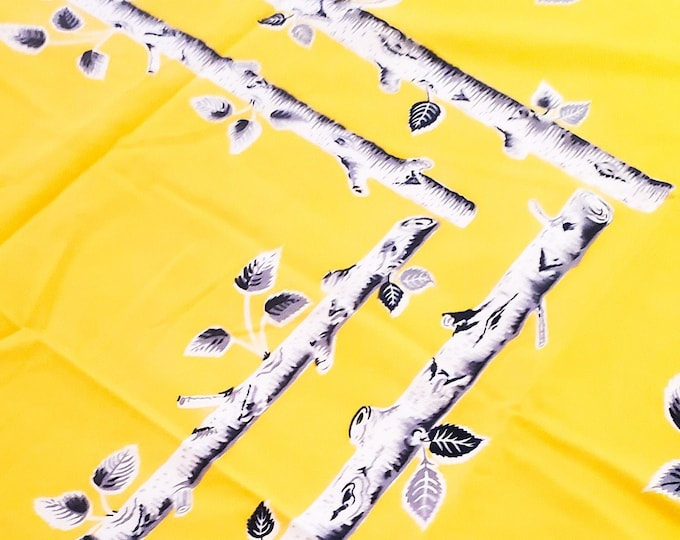 """Gorgeous 1950's Yellow Cotton Tablecloth with detailed Birch Trees motif 45""""W x 51""""L"""