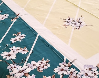 "1950's Country Kitchen Cotton Tablecloth In Green and Yellow with Beautiful Branches with White Florals Motif, 52""x 62"""""