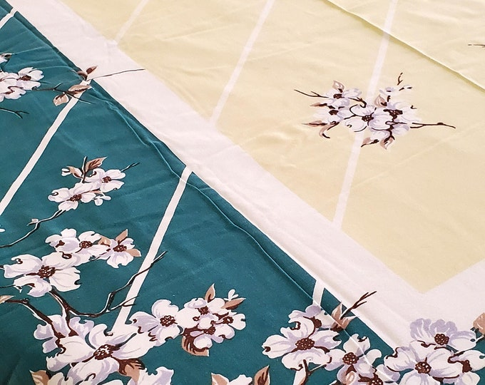 """1950's Country Kitchen Cotton Tablecloth In Green and Yellow with Beautiful Branches with White Florals Motif, 52""""x 62"""""""""""