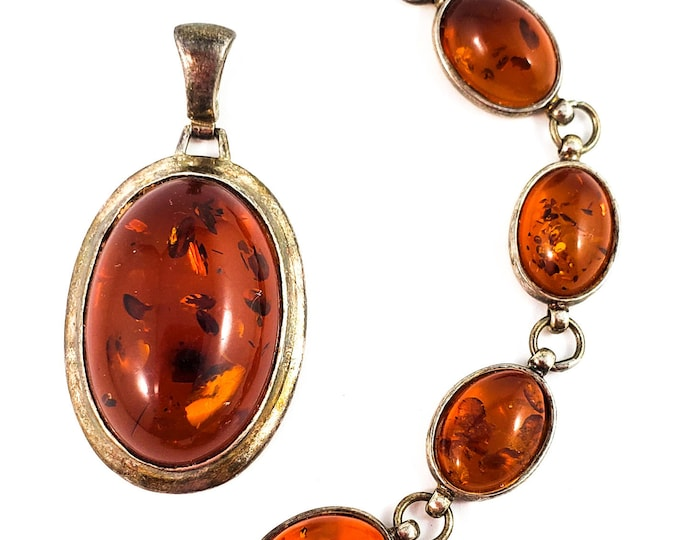 Stunning Baltic Amber and Sterling Silver Bracelet and Pendant