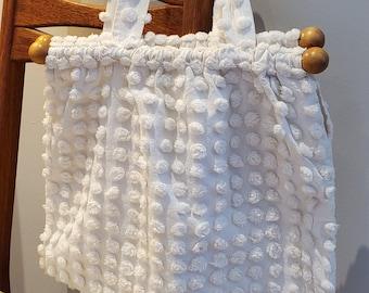 Fabulous Boho White Chenille Fabric Purse with 1950's Vintage Chenille Fabric Fabric and Wood Handles.