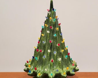 Stunning Extra Large Vintage Ceramic Christmas Tree with Multicolor Bulbs