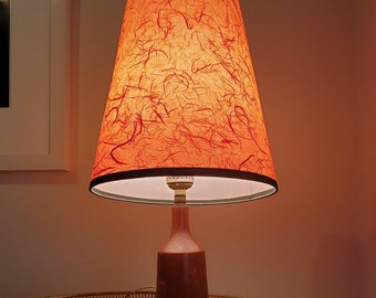 Super Cute Vintage Mid Century Teak Accent Lamp with super tall fibre glass shade in red.