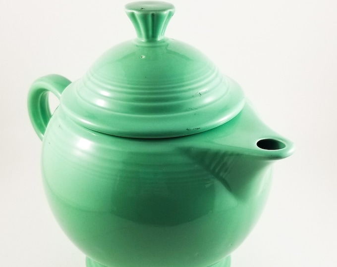 Vintage Fiestaware Green TeaPot,Art Deco TeaPot, USA Pottery, Collectible Pot