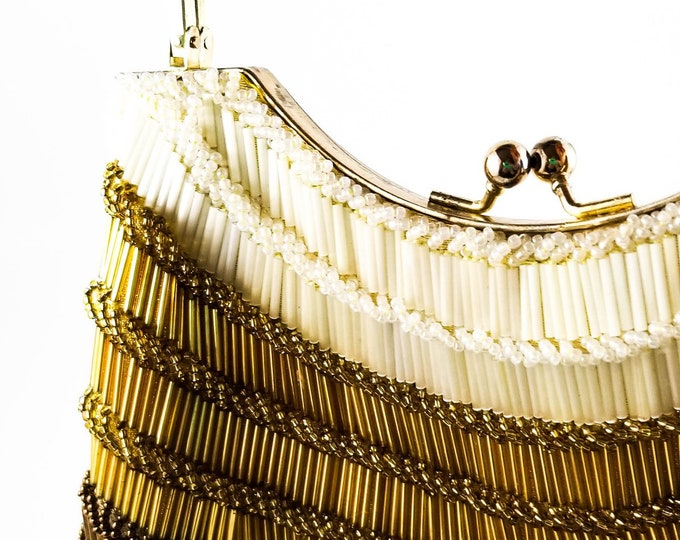 Magnificent Vintage Gold and Pewter Bugle Beaded Evening Bag with Brass Handle  Evening Purse 60s Made in Hong Kong