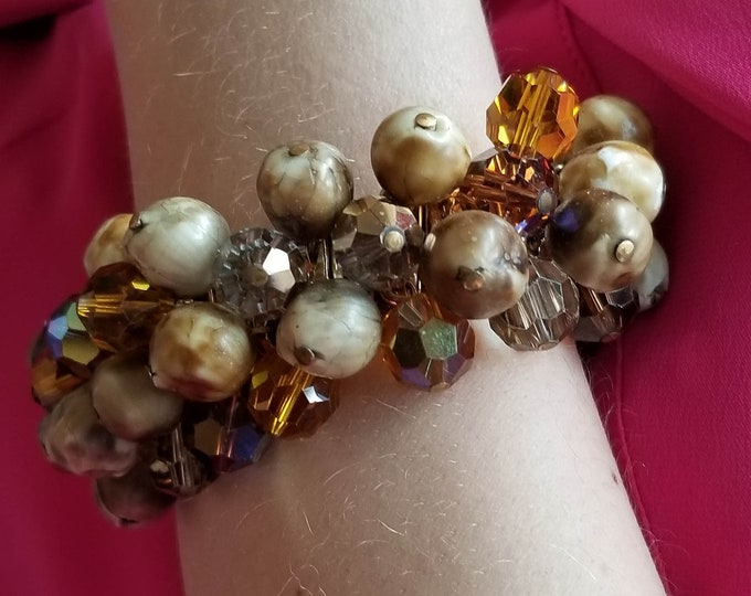 Awesome Crystal and Acrylic Bead Expandable Bracelet with matching clip on Earrings