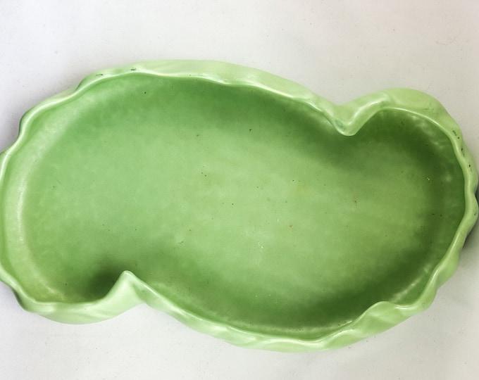 NEW PRICE!!  Celery Green Ceramic Lo-Rise Crimped Planter