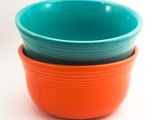 Fabulous Vintage Collectible GUSTO Fiestaware Cereal, Ice Cream, Soup Bowls in Orange and Blue Homer Laughlin
