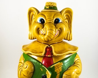 Rare Vintage Lucky Elephant with Green Vest and Red Tie Cookie/Biscuit Jar