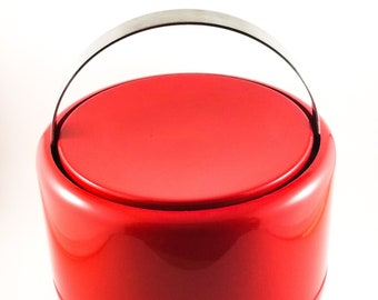 Red  Mid Century Lucite Stelton Ice Bucket with chrome handle