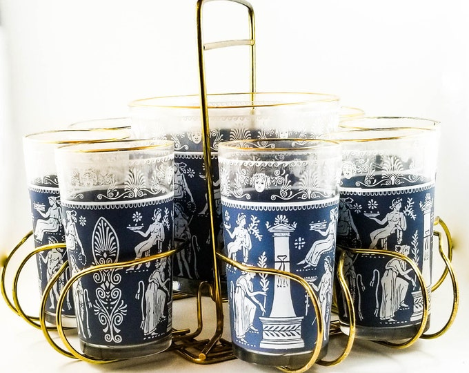 Vintage MCM Jeannette Hellenic blue glasses Wedgwood Jasper, Grecian scenes Set of 8 Tumblers in Caddy
