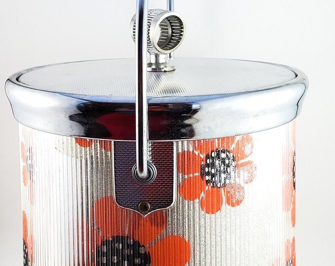Vintage Flower Power Rippled Silver Lucite Ice Bucket with Bright Orange Poppies