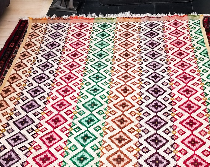 Fantastic Vintage Reversible Floor or Bed Covering in Diamond Weave Pattern and Gorgeous Colors