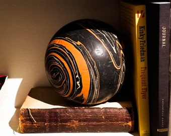 1950's Gorgeous Marbleized 5 pin Bowling Ball in Black and Orange