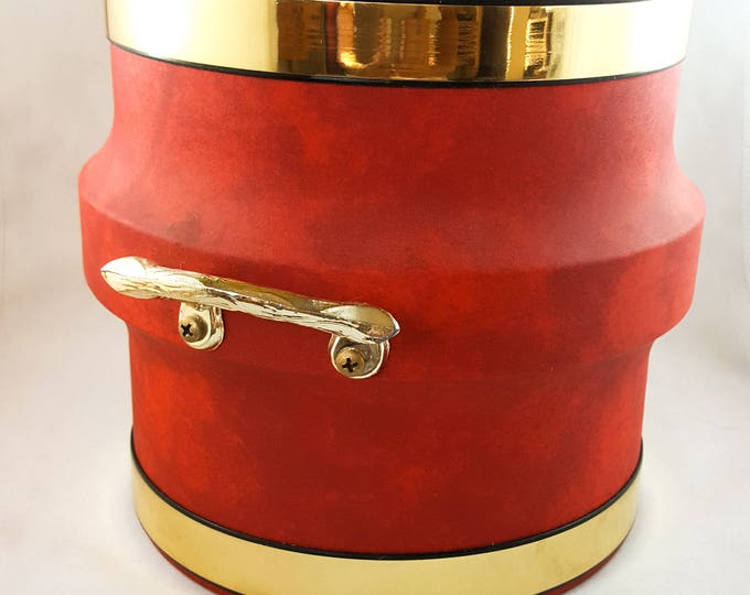 NEW PRICE! Fabulous Vintage Red Ice Bucket, Jumbo Vinyl Ice Bucket, Shelton Ware NYC.