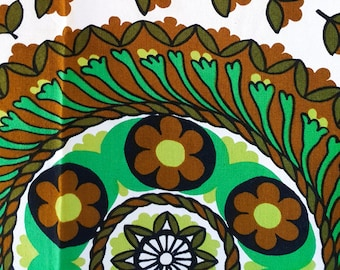"""Mid-Century Modern Tablecloth in Brilliant Chartreuse +Greens, Yellows and Browns 55""""x59"""""""