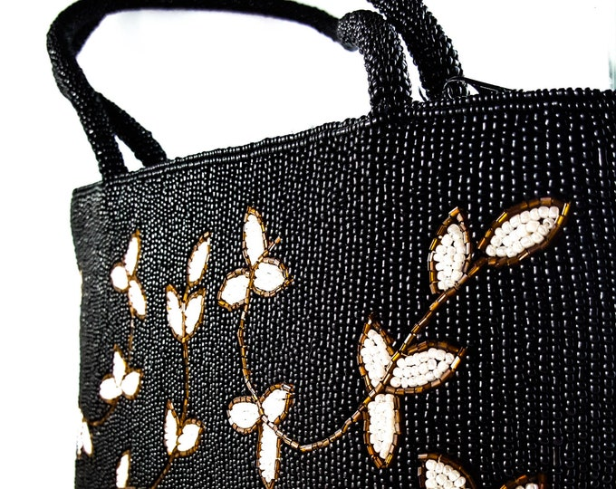 Magnificent Hand Beaded Black Bag with Beaded Strap and white and Gold Vine Pattern