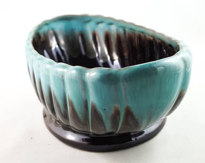 Turquoise and Brown Scalloped Drip Glaze Planter