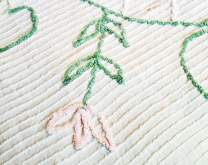 Lovely White Queen Chenille Bedspread with Pastel Floral Embellishment in Green and Puink