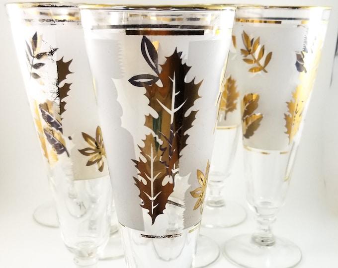 Libbey Frosted Gilt Pilsner Beer Glass Set 8 glasses with Leaf Motif