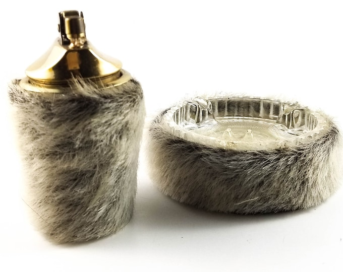 Fantastic Unique Faux Fur Covered Lighter and Round Glass Ashtray, Mid Century Ashtray/Trinket Dish