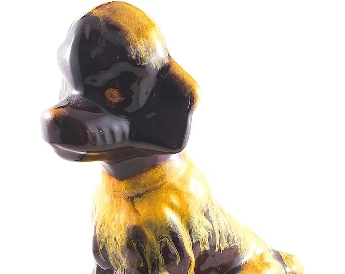 Wonderful Drip Glaze Dog (Spaniel/Poodle,) Figurine in Chestnut with Yellow Glazing. BMP Blue Mountain Pottery