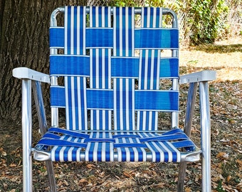 Fabulous 1970's Vintage Collapsible Lawn Chair, Patio Furniture, Webbed Seat, Folding Aluminum, Industrial Decor