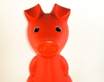 1980's Ikea Heavy Plastic Piggy Bank in Orange/Red. Figurine Bank, Collectible Kitsch PigVintage piggy bank designed by Monika Moulder