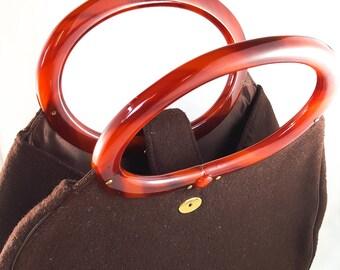 1950's Vintage Brown Wool Handbag