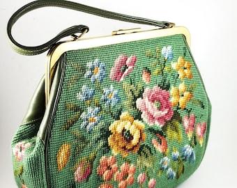 1950's Vintage Tapestry Brocade Handbag with Brass Frame,Vintage Mid-Century Petit PointTote Bag Tapestry Antique 1950's Brocade Flower Bag