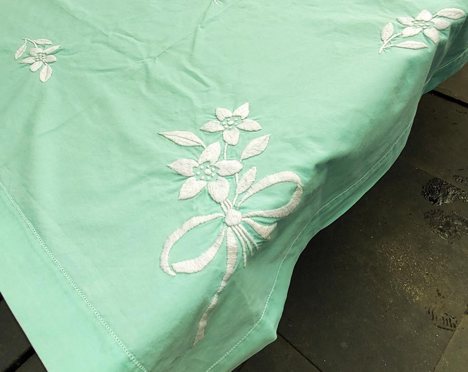 Gorgeous Green/Aqua 1950's Rectangle Cotton Tablecloth with Embroidered white florals