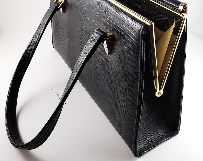 Classic 1950's Gorgeous Pressed Black Leather Handbag with Brass Frame and Leather Lining. Brass Enclosure. Medium/Large