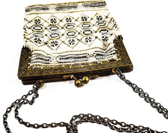 Magnificent Gold, Silver and White micro Bead Evening Bag w/ Brass Frame and strap/Antique Deco Handbag, Kiss Lock- Vintage