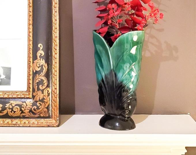 Classic Scalloped Leaf Shaped Blue Mountain Pottery Vase