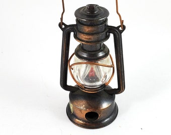 Miniature Bronze/Cast Iron Desk Glass Lantern Pencil Sharpener with Wire Handle and Glass Body   Works! Stocking Stuffer!