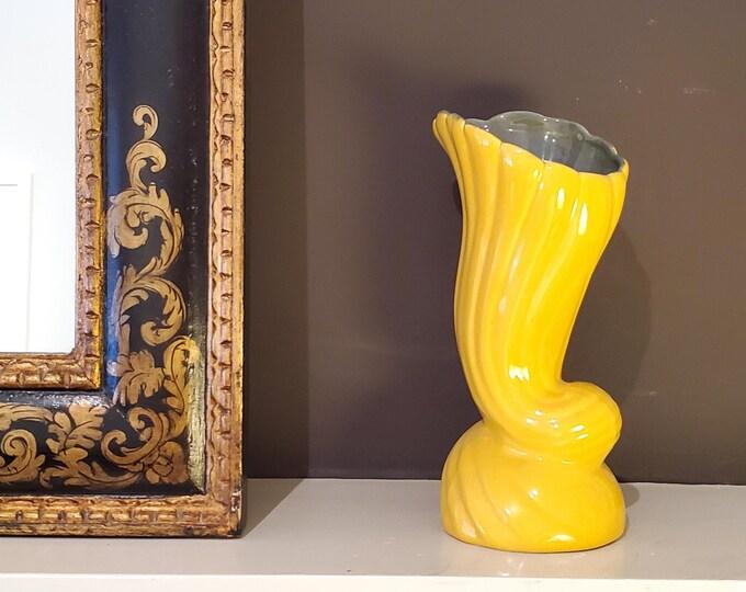 Gorgeous Bright yellow Cornucopia Vintage Flower Vase with Green Interior and Wrap around tail.