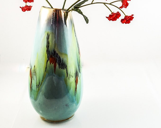 Vintage Mid-Century Modern Vase of West Germany, Beautiful Speckled Blue w/  Gold Trim at the top