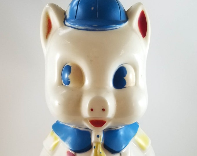 Classic Plastic Piggy Bank in Red Jumper. Plastic Pig Figurine Bank, Collectible Kitsch Pig