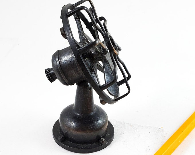 Miniature Bronze/Cast Iron Desk Fan Pencil Sharpener  with Tilting Head and Moving Blades.  Works! Stocking Stuffer!