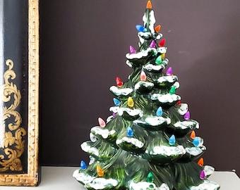 Stunning Vintage Ceramic Christmas Tree with Multicolor Bulbs