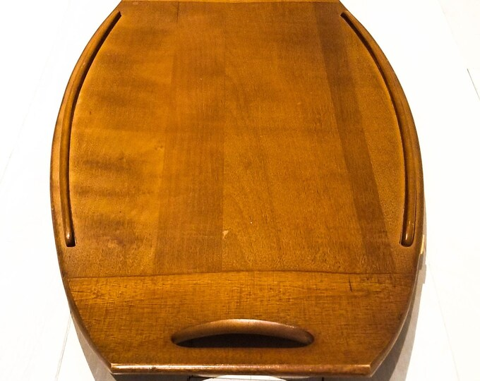 Mid Century Vintage Baribocraft Teak Wood Surfboard Serving Tray, Cheese Tray, Platter Made in Canada